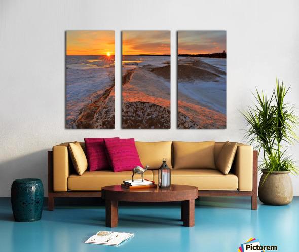Icy Sunset  Naubinway Michigan Split Canvas print