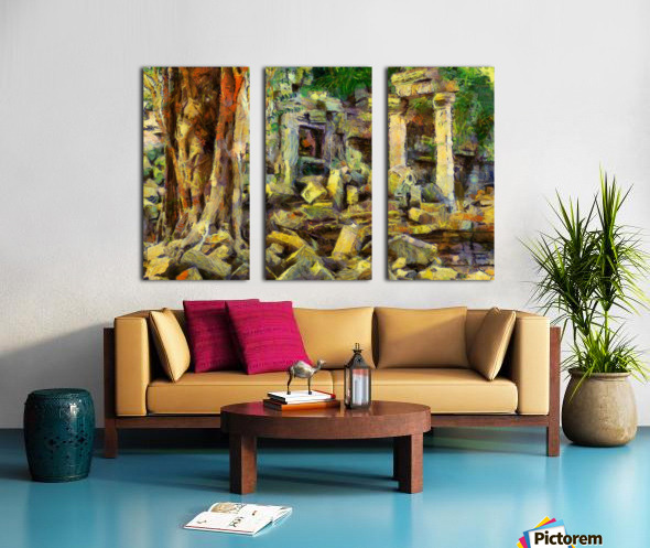 CAMBODIA Angkor Wat oil painting in Vincent van Gogh style. 148 Split Canvas print