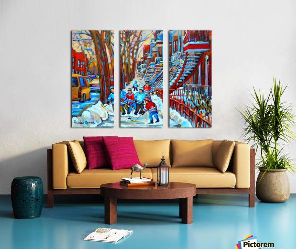 HOCKEY ON DEBULLION MONTREAL WINTER SCENE Split Canvas print