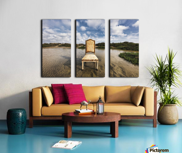 Chair in a pool of water - color version Split Canvas print
