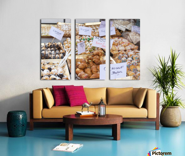 Desserts at market in France Split Canvas print