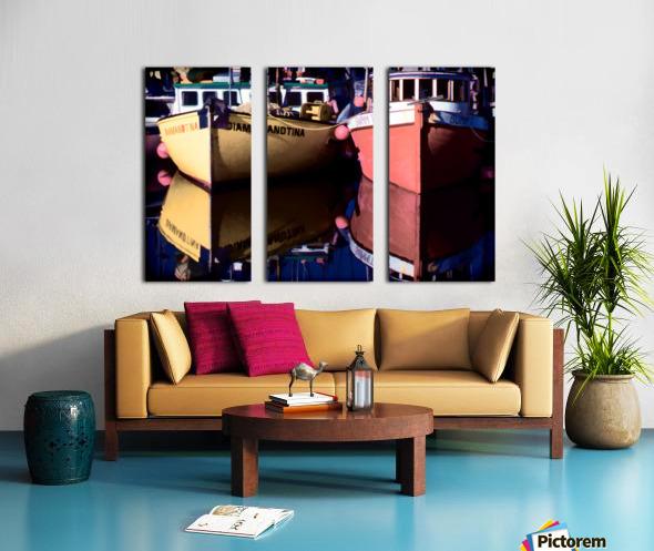 Moored Fishing Boats Split Canvas print
