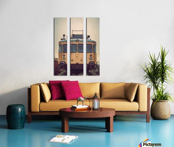 Junkyard train Split Canvas print