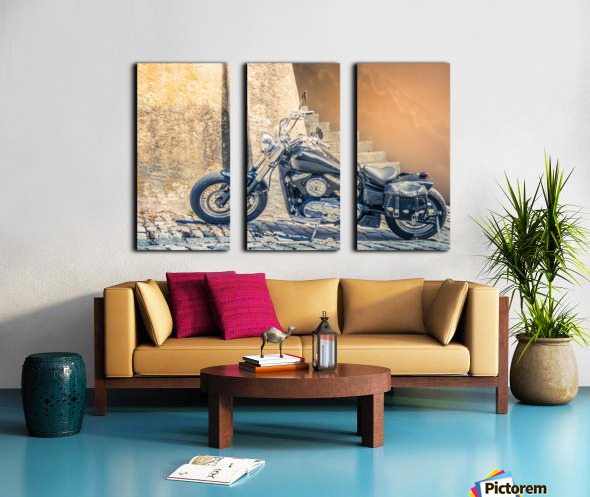 Chopper cruiser motorbike Split Canvas print