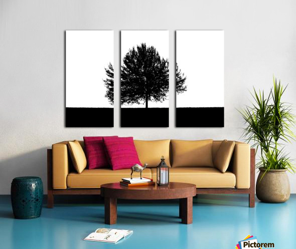 Silhouette of a lonely tree Split Canvas print