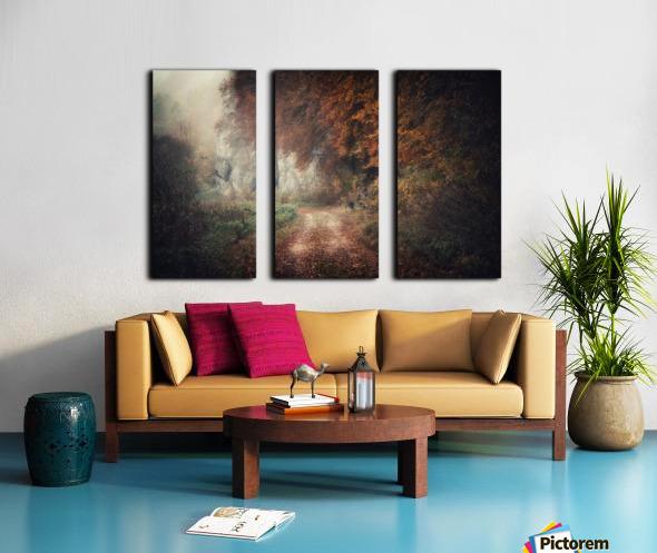 Foggy autumn forest Split Canvas print