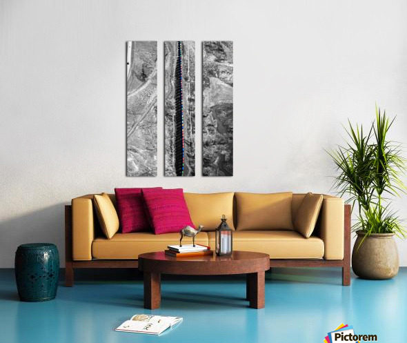 Train with Colorful Boxcars and Shadows Split Canvas print