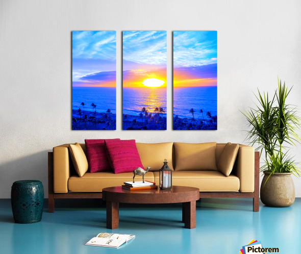 Rainbow Sunset in the Tropics   Hawaii Split Canvas print