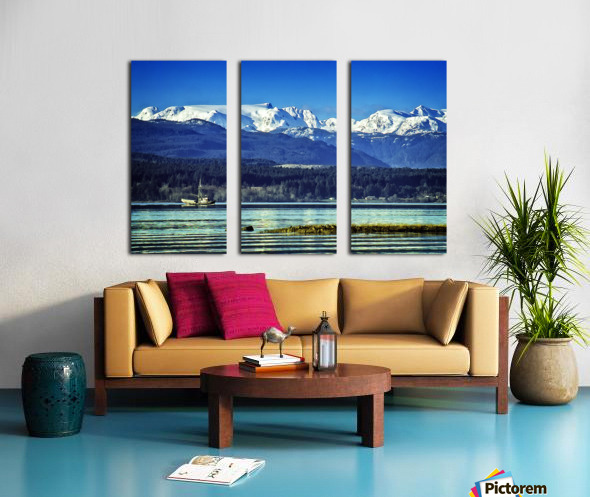 Comox Glacier and Herring Boat Split Canvas print
