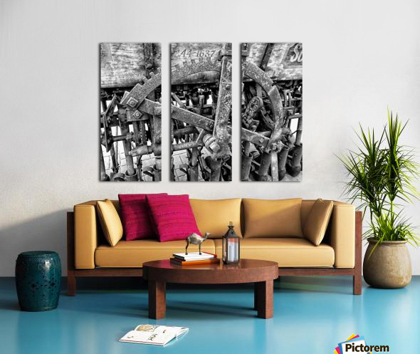 Antique Ploughing Machinery Black and White Split Canvas print