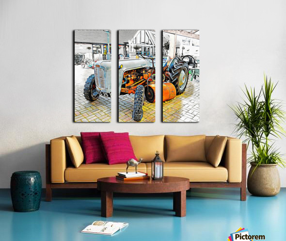 Ferguson Tractor and Hand Roller Split Canvas print