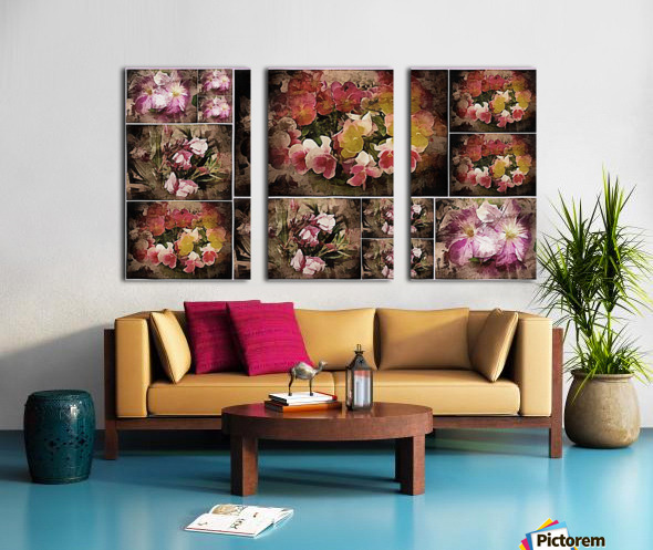 Vintage Floral Imaginings Collage Split Canvas print