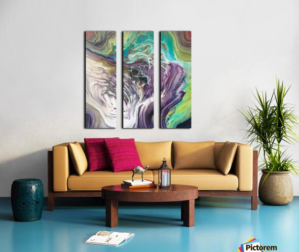 Peacock Marble Abstract Split Canvas print