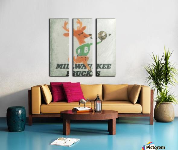 1974 Milwaukee Bucks Fleer Decal Art Split Canvas print