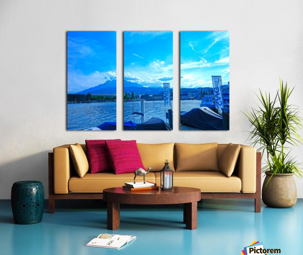 Blue Day Mount Pilatus on the Shores of Lake Lucerne   Central Swiss Alps Split Canvas print