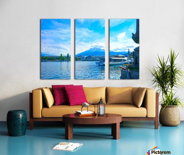 Mount Pilatus on the Shores of Lake Lucerne   Central Swiss Alps Split Canvas print