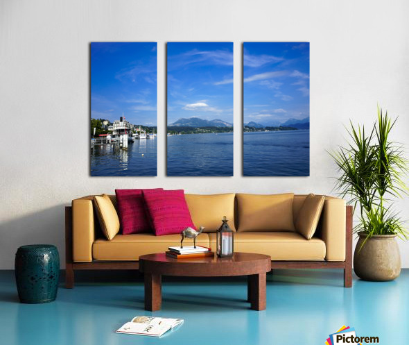 On the Shores of Lake Lucerne Split Canvas print