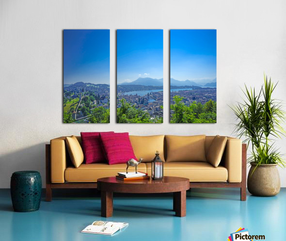 Stunning View Musegg Wall to Chapel Bridge to Lucerne and the Alps   Lucerne Switzerland Split Canvas print