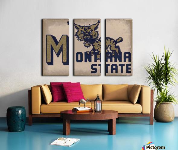 Vintage Montana State Bobcat Art Split Canvas print