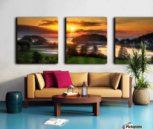 Coucher de soleil au Bic Split Canvas print