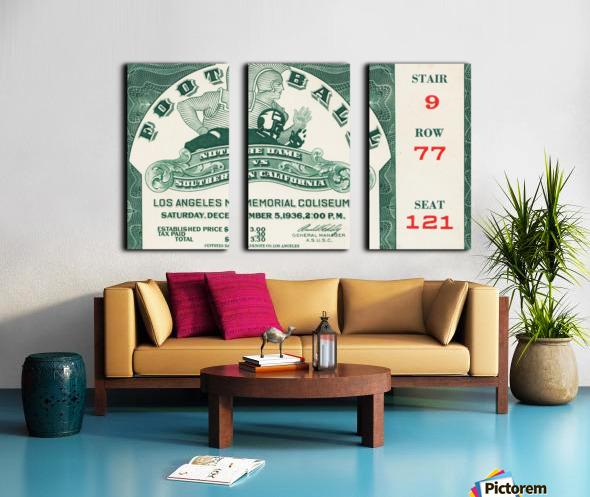 1936 Notre Dame vs. USC Football Ticket Art Split Canvas print