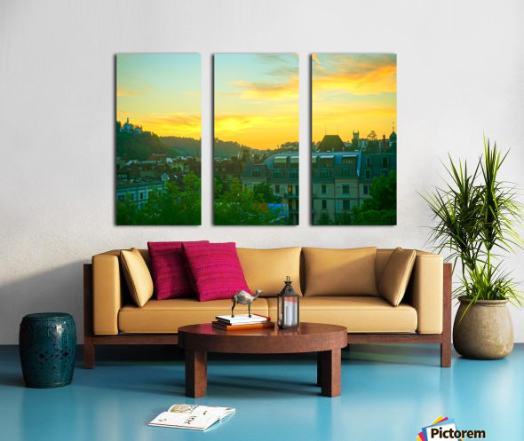 Sunset over Lucerne Switzerland Split Canvas print