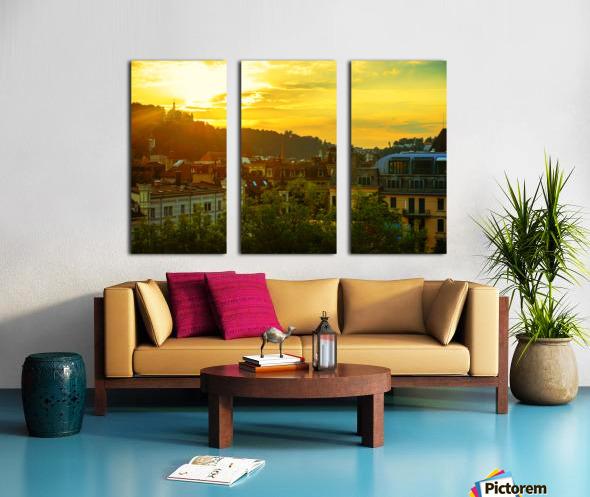 Summer Sunset over Lucerne Switzerland Split Canvas print