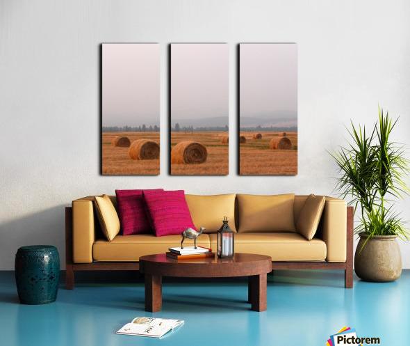 Haybales in a Haze Split Canvas print