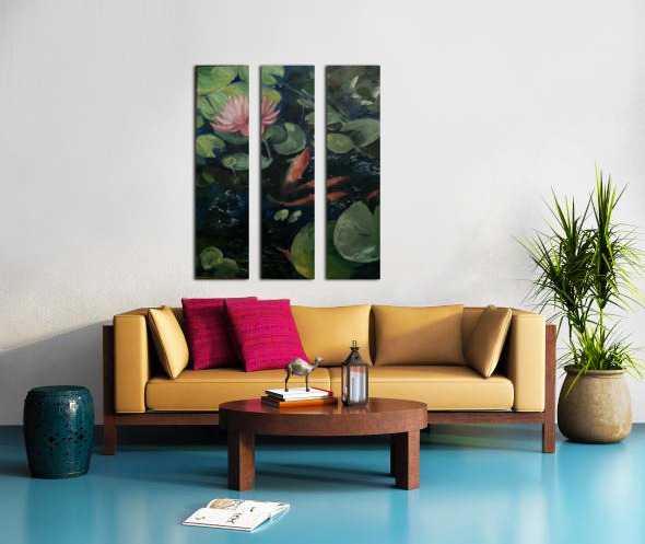 Koi with water lily  Split Canvas print