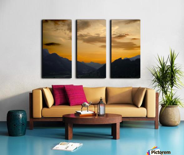 Sunset in the Saanen Valley in Switzerland Split Canvas print