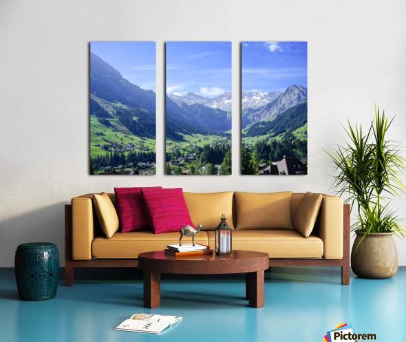 Blue Skies over the Alps in Adelboden Switzerland Split Canvas print
