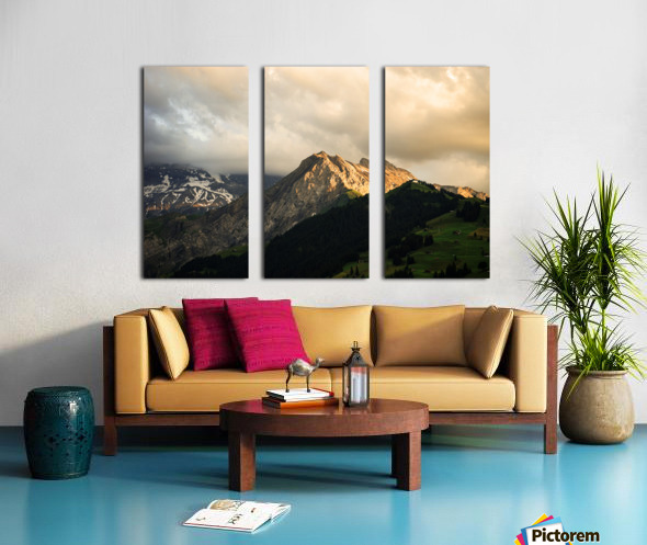 Mountain Bathed in the Golden Rays of the Sun at Sunset in Switzerland 1 of 3 Split Canvas print