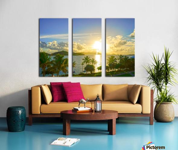 Sunset over Saint Thomas in the Caribbean Islands Split Canvas print