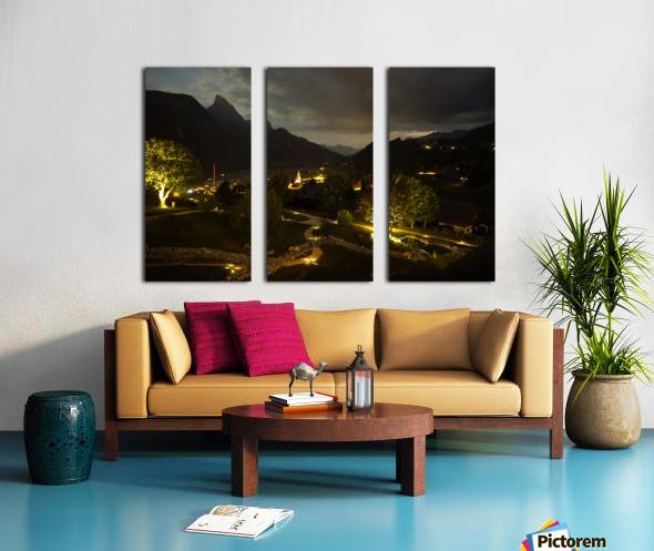 Night Arrives in the Saanen Valley in Switzerland Split Canvas print