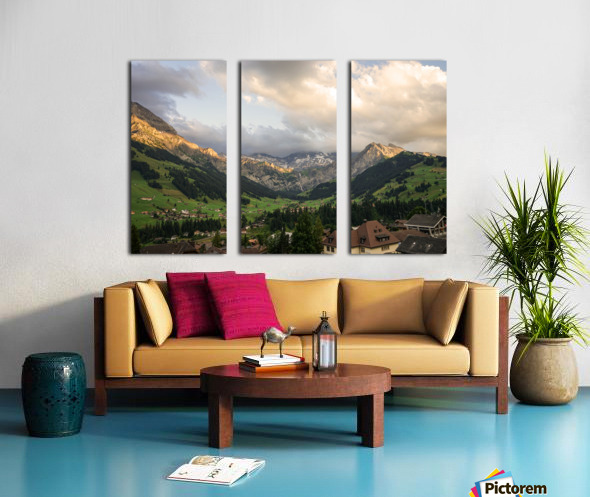 Golden Rays of the Sun Across the Mountains at Sunset in Switzerland 2 of 2 Split Canvas print