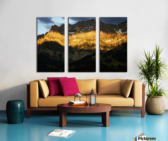 Mountain Bathed in the Golden Rays of the Sun at Sunset in Switzerland 2 of 3 Split Canvas print