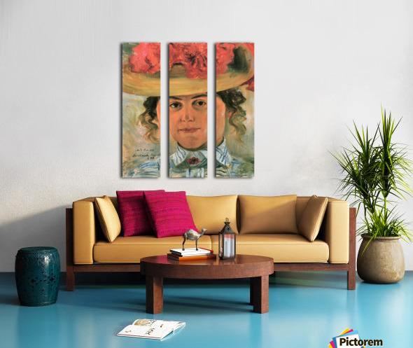 Womens Half-portrait with straw hat by Lovis Corinth Split Canvas print