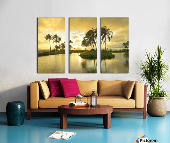 Shadows and Light as the Sun Sets in Kauai 2 of 2 Split Canvas print