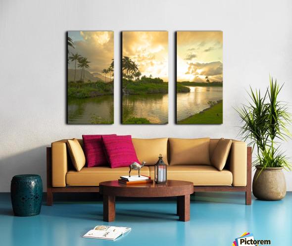 Shadows and Light as the Sun Sets in Kauai 1 of 2 Split Canvas print
