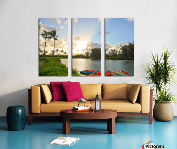 Sunset by the Lakeshore in Kauai Split Canvas print