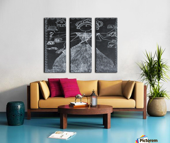 Warli Art Depicting multitask Split Canvas print