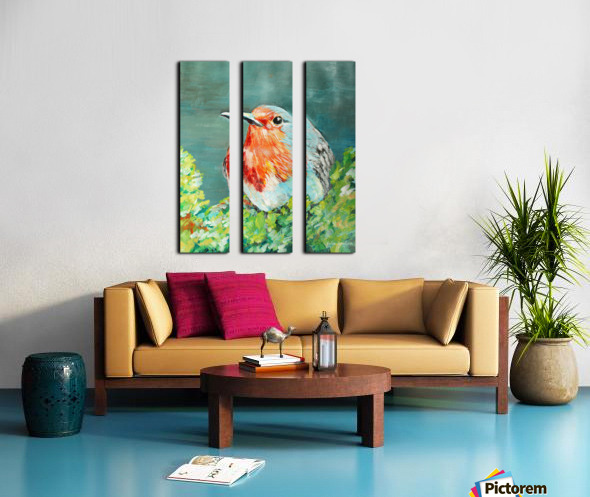 Bird Painting Robin Split Canvas print