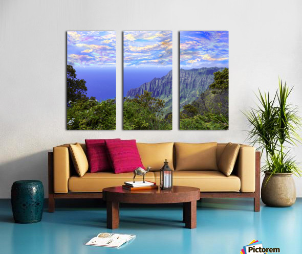 Sunset at Puu O Kila Lookout Kohala Mountains on the Island of Kauai in Hawaii Split Canvas print
