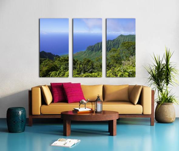 Blue Skies Puu O Kila Lookout Kohala Mountains on the Island of Kauai in Hawaii Split Canvas print