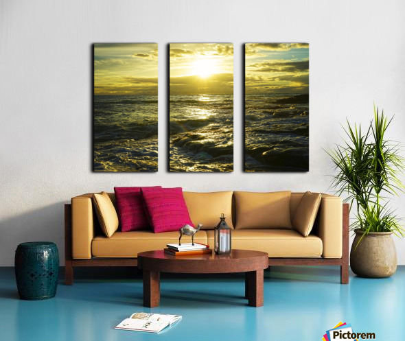 Sunlight and Shadows Play in the Waters at the Bay Split Canvas print