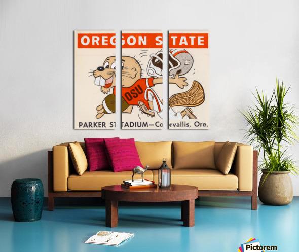 1970 Oregon State Beaver Ticket Stub Remix Art Split Canvas print