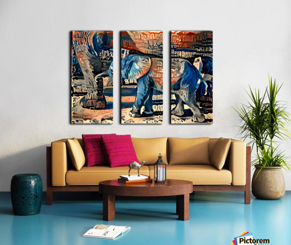 The Posterized Elephant Split Canvas print