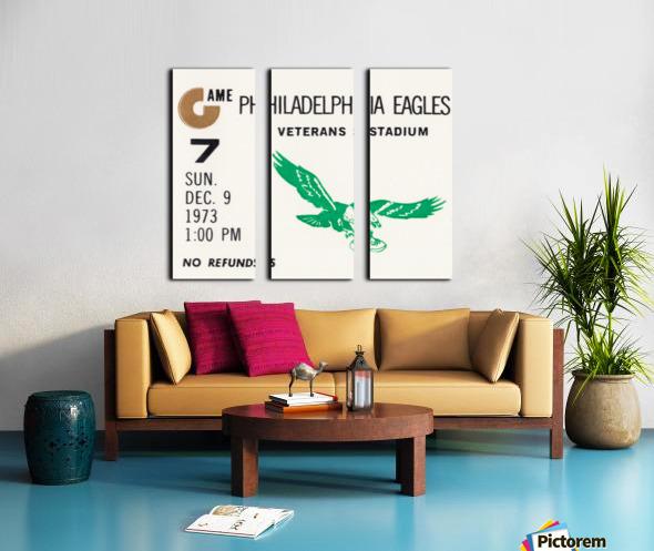 1973 Philadelphia Eagles Ticket Stub Remix Art Split Canvas print