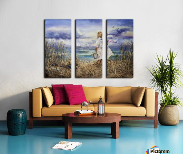Girl At The Ocean Beach Art Painting Split Canvas print