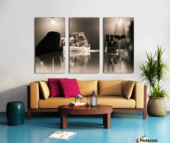 Urban Loneliness - A Lonely Evening Split Canvas print